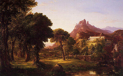 Oil painting Thomas cole - Dream of Arcadia stunning landscape & mountain house