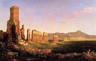 No framed art Oil painting Thomas cole - Aqueduct near Rome great landscape