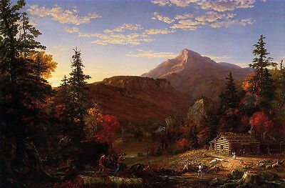 Art oil painting Thomas cole - The Hunters Return at sunset landscape & mountain