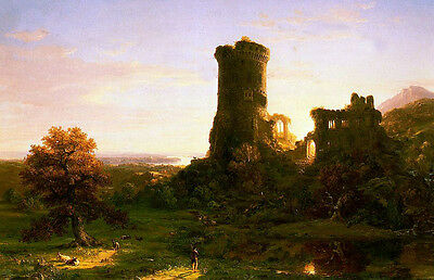 """Art oil painting Thomas cole - The Present Shepherd & goats and grand Ruins 36"""""""