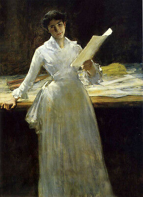 Oil painting William Merritt Chase - Memories young lady holding a painting