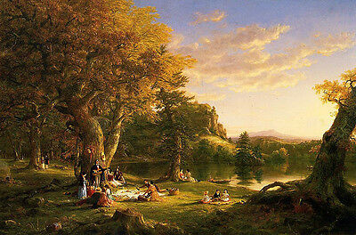 Art oil painting Thomas cole - The Picnic happy people in landscape & children