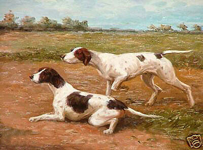 Oil painting lovely two dogs or Hound gundog in landscape handpainted
