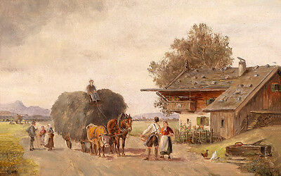 Stunning Oil painting cattle and horse pull carriage in village landscape canvas
