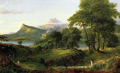Oil painting Thomas cole - The Course of Empire The Arcadian or Pastoral State