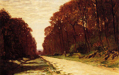 Oil painting Claude Monet - Road in a Forest autumn landscape no framed canvas