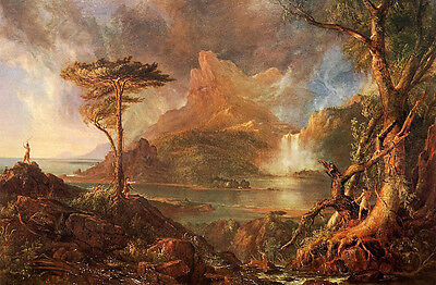 Oil painting Thomas cole - A Wild Scene nie landscape & river hunters canvas