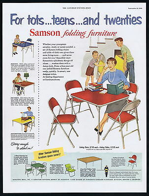 1950 Samson Assorted Folding Furniture Chair Table Vintage Print Ad
