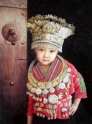 Art Oil painting Minority Lovely Beautiful Chinese Hmong girl Dressed up canvas