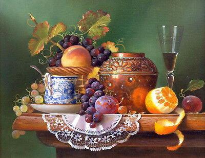 Beautiful Oil painting nice still life fruits with wine cup pottery pot on table