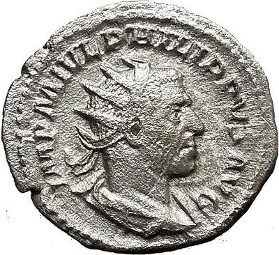 Philip I 'the Arab' 244AD Silver Ancient Roman Coin Nike Victory Cult  i36572