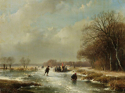 Oil painting Andreas Schelfhout Dutch Winter landscape with figures skating 36""
