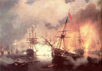 """Art Oil painting Naval battle with burning warships on ocean canvas 24""""x36"""""""