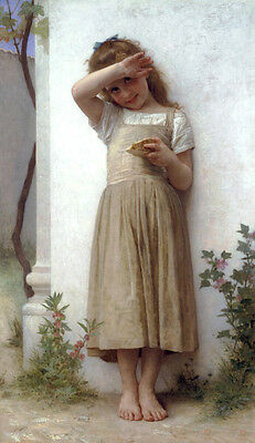 Nice Oil painting Bouguereau - Young girl portrait standing with bread canvas