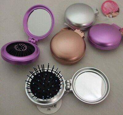 Travel Cosmetic Compact Hand Held Mirror with Hair Brush 3 Colours New
