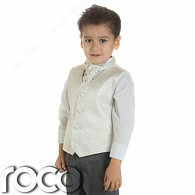 Baby Boys Ivory & Grey Waistcoat Suit, Page boy Suits, Boys Wedding Suits
