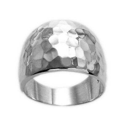 925 Sterling Silver Wide Hammered Cigar Band Ring Size 5-12