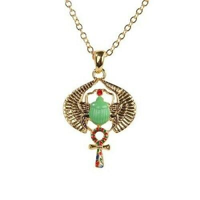 Egyptian Winged Beetle Scarab With Ankh Necklace Fashion Jewelry Alloy