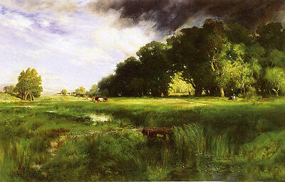 Large Oil painting Thomas Moran - Summer Squall with cows in landscape canvas