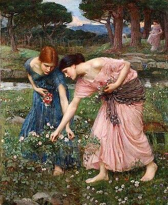"""Perfect Oil painting Waterhouse Young beautiful girls gather flowers canvas 36"""""""