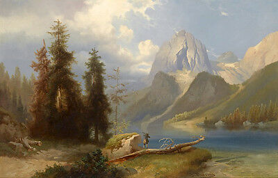 Dream-art Oil painting Hunters are hunting by the river landscape on canvas art