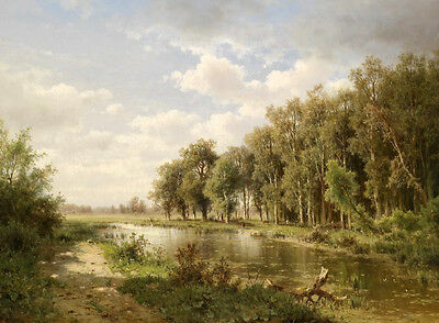 Perfect Oil painting Autumn trees along the Quiet creek - nice landscape