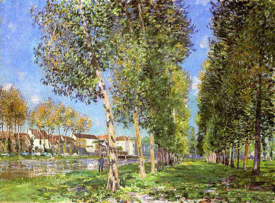 Oil painting Alfred Sisley - The Island of Saint-Denis trees with landscape