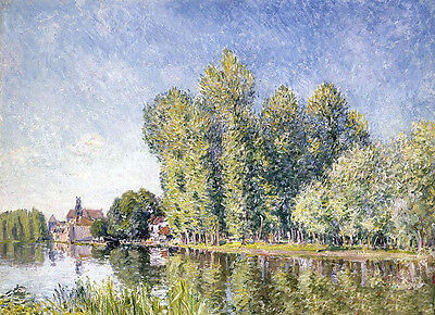 Art Oil painting Alfred Sisley - The Loing at Moret impressionism landscape