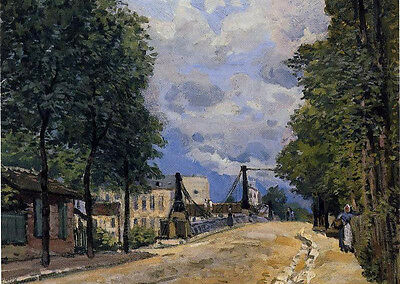 No framed landscape Oil painting Alfred Sisley - The Road from Gennevilliers