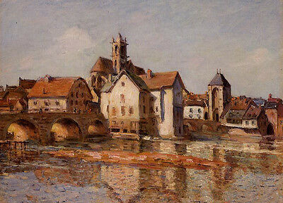 Oil painting Alfred Sisley - The Moret Bridge at Sunset with river landscape 36""