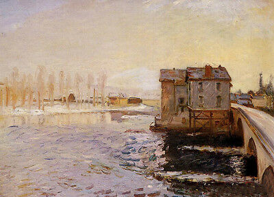 Perfect Oil painting Alfred Sisley - The Moret Bridge and Mills under Snow 36""