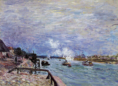Oil painting Alfred Sisley - The Seine at Grenelle - Rainy Wether impressionism