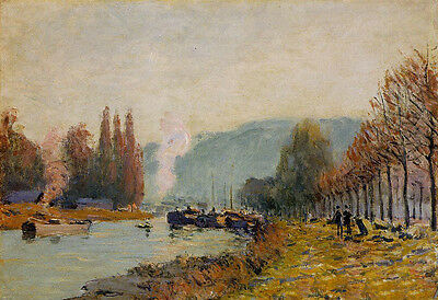 No framed Oil painting Alfred Sisley - The Seine at Bougival & river no stretch