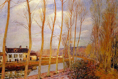 Stunning Oil painting Alfred Sisley - The Loing Canal at Moret nice landscape