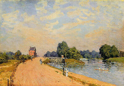 No framed landscape Oil painting Alfred Sisley - The Road from Hampton Court