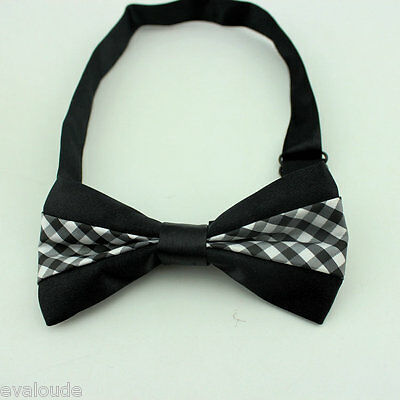 MENS Luxury Black With Grey & White Check Inset Dickie Bow Tie Adjustable