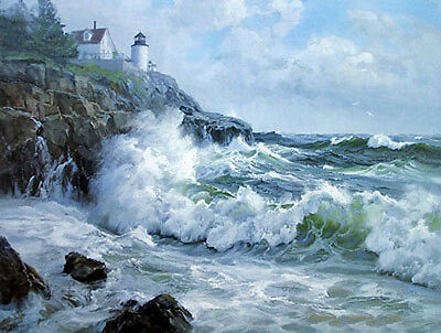 Dream-art Oil painting seascape ocean waves with lighthouse hand painted art 36""
