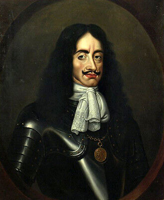 Excellent Realism oil painting male portrait KING CHARLES II in Armor on canvas