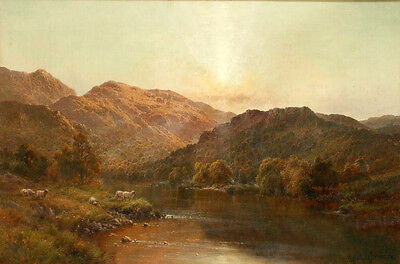 Stunning huge Oil painting sheep in the sunset landscape with river on canvas
