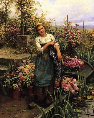 Huge beautiful Oil painting Young woman with The Flower Boat in spring canvas