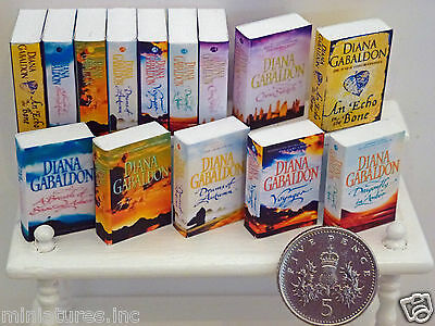 "DOLLS HOUSE MINIATURE BOOKS ""OUTLANDER"" FULL SET of EIGHT Handmade 1:12th scale"