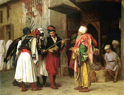 """Beautiful Oil painting Jean-Leon Gerom Old Clothing Merchant in Cairo canvas 36"""""""
