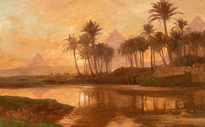 Nice huge Oil painting Egyptian Pyramids with Tropical trees by sunset river