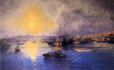 """Oil painting Ivan Constantinovich Aivazovsky - Constantinople Sunset canvas 36"""""""