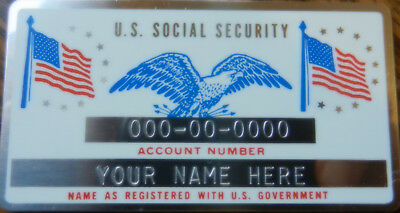 Metal Social Security ID Card Red White Blue Colors Custom Engraved