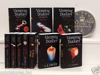 "FIVE DOLLS HOUSE MINIATURE BOOKS ""VAMPIRE DIARIES"" (1-7) Handmade 1:12th scale"