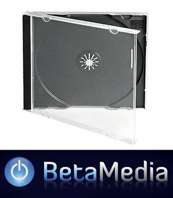 200 x Jewel CD Cases with Black Tray Single Disc - Standard Size Case