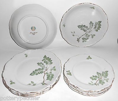 Mitterteich China Porcelain Green Leaves Set 10 Pieces!