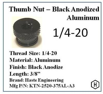 "1/4-20 x 3/8"" Knurled Thumb Nut (100 Pieces) Aluminum Black Anodize Finish"