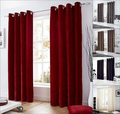 1 Pair VELVET Fully Lined Ready Made Eyelet Ring Top Curtains - FREE Tiebacks